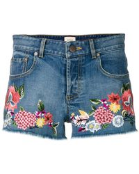 Alice + Olivia - Floral Embroidered Denim Shorts - Lyst
