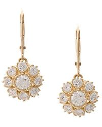 Marchesa - 18kt Yellow Gold Floral Diamond Drop Earrings - Lyst