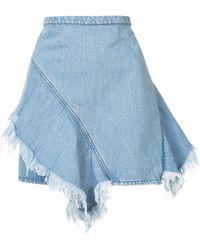 Strateas Carlucci - Raw Hem Frill Trim Mini Denim Skirt - Lyst