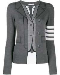 Thom Browne - Trompe L'oeil Wool Knitted Sweater Grey - Lyst