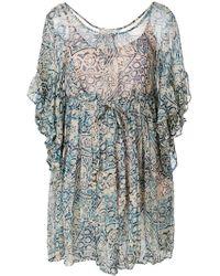 Mes Demoiselles - Printed Frill Sleeve Dress - Lyst