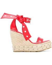 Alexander McQueen - Eyelet Bow Espadrilles Sandals - Lyst