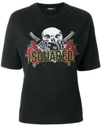 DSquared² - Skull And Rose Logo Print T-shirt - Lyst