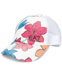 EA7 - Textured Floral Logo Cap - Lyst