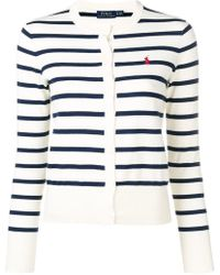 655c5ed5e Lyst - Polo Ralph Lauren Fringed Cardigan With Cotton
