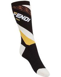 Fendi - Mania Motif High Socks - Lyst