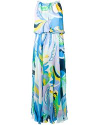 4485f49167a13 RED Valentino Frill Panel Maxi Dress in Blue - Lyst