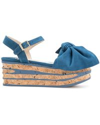 Paloma Barceló - Bow Wedge Sandals - Lyst