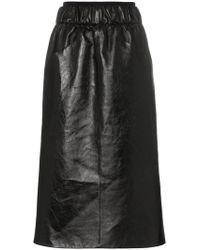 Givenchy - Gathered-waist Lambskin Knee-length Skirt - Lyst
