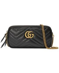 817d2934e70 Lyst - Gucci Black GG Marmont Leather Mini Chain Bag in Black
