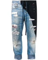 Greg Lauren - Two-tone Cropped Jeans - Lyst