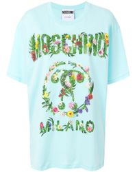 Moschino - Graphic Tropical Flower Printed T-shirt - Lyst