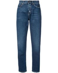 Saint Laurent - Distressed Effect Tapered Jeans - Lyst