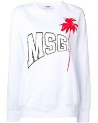 MSGM - Palm Tree Logo Sweatshirt - Lyst