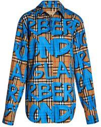 Burberry - Graffiti-print Check Shirt - Lyst