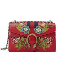 c6d42808cee8 Gucci - Dionysus Embroidered Leather Shoulder Bag - Lyst