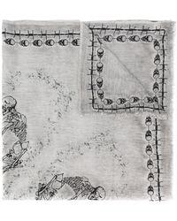 7f373519234c Lyst - Écharpe en tricot à détails de plumes Prada en coloris Gris