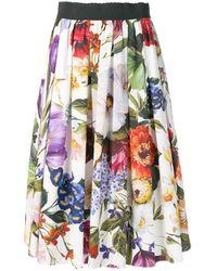 Dolce & Gabbana - Floral Midi Skirt - Lyst
