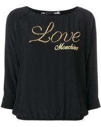 Love Moschino - Embroidered Embellished Logo Sweatshirt - Lyst