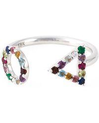 Eshvi - 18kt White Gold Gemstone Ring - Lyst