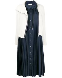 Sacai Contrast Layered Midi Dress - Blue