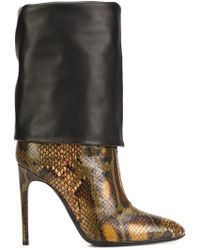 Pollini - Snakeskin-Effect Leather Boots - Lyst