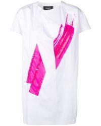 DSquared² - Contrasting Print Shift Dress - Lyst