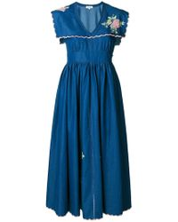 Natasha Zinko - Dickie Floral-embroidered Cotton Dress - Lyst