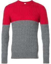 Eleventy - Colourblock Cable Knit Sweater - Lyst