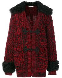 Philosophy Di Lorenzo Serafini   Fur Trim Knitted Coat   Lyst