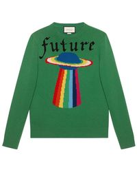 7dab26c74e2 Gucci - Wool Sweater With Planet Intarsia - Lyst
