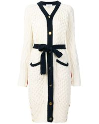 Thom Browne - Long Cable Knit V-neck Cardigan Coat - Lyst