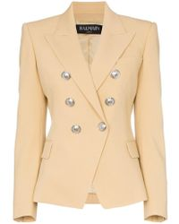 Balmain - Double Breasted Wool Jacket - Lyst