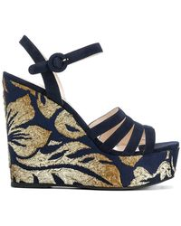 Prada - Brocade Wedge Sandals - Lyst