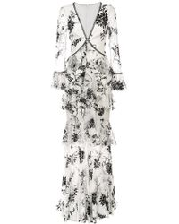 Marchesa notte - Embroidered Floral Lace Dress - Lyst
