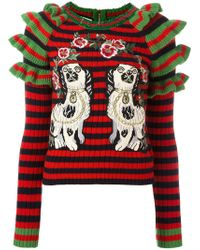 Gucci   Embroidered Striped Knitted Jumper   Lyst