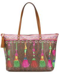 Etro - Printed Tassel Tote Bag - Lyst