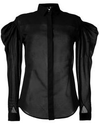 Saint Laurent - Sheer Puff-sleeve Shirt - Lyst