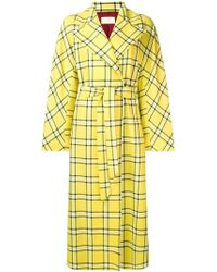 Sara Battaglia - Checked Long Trench Coat - Lyst
