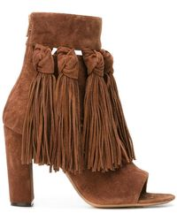 Chloé - Fringed Open Toe Booties - Lyst