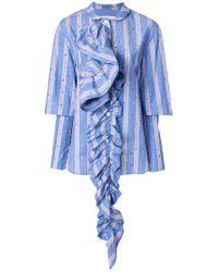 Marni - Striped Ruffle Detail Shirt - Lyst