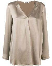 Max & Moi - Front Pleat V-neck Blouse - Lyst