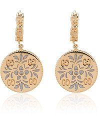 Gucci - Gold And Enamel Icon Floral Earrings - Lyst