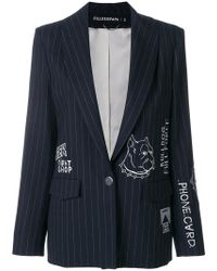 Filles A Papa - Embroidered Pinstriped Blazer - Lyst