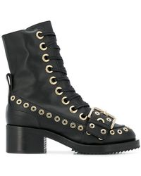 N°21 - Grommet-embellished Lace-up Boots - Lyst