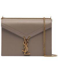 Saint Laurent - Beige Cassandre Logo Leather Shoulder Bag - Lyst 8358d69089e07