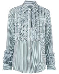 ALEXACHUNG - Striped Ruffle Shirt - Lyst