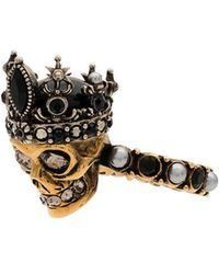 Alexander McQueen - Gold And Silver Metallic Crystal Embellished Queen Skull Ring - Lyst