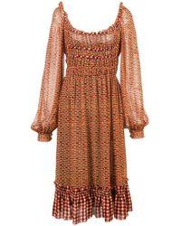 e256fb0c9c641 Proenza Schouler Leaf Print Dress in Black - Lyst