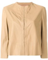 DROMe - Cropped Leather Jacket - Lyst
